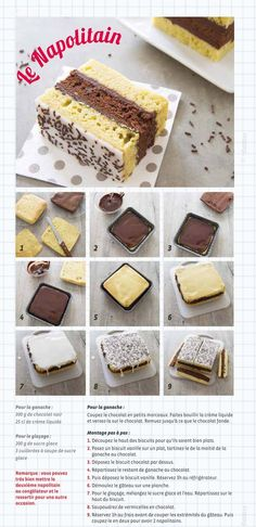[ Napolitain maison Homemade Neapolitan recipe for children's snacks – step-by-step photo technique Sweet Recipes, Cake Recipes, Dessert Recipes, Food Cakes, Technique Photo, Kids Meals, Food And Drink, Cooking Recipes, Desert Recipes