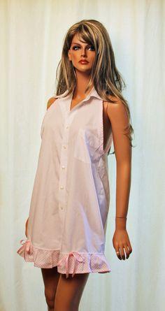 Beautiful and Repurposed - Hubby's Favorite Work Shirt - Nightgown. $55.00, via Etsy.
