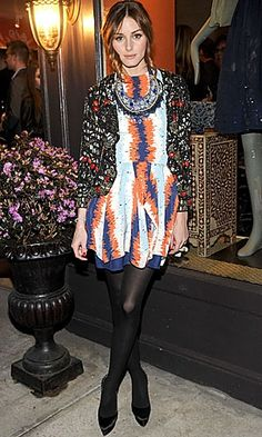 Olivia Palermo wearing Topshop Ultimate Jewelled Jacket, Julian J Smith Dress, Christian Louboutin Rolando in Black Suede, Mulberry Alexa Lambskin clutch in Butterscotch, Charlotte Olympia Platform sandals in Black,  Olivia Palermo Roberta Freymann by Olivia Palermo Necklace Collection Launch March 24 2010