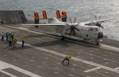 Grumman C-2 Greyhound takes off from USS Harry S Truman, en route for French…