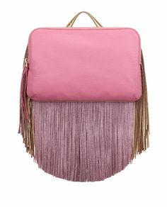 The Volon Bon-Bon Pink Color block Cutch Leather Fringe, Pink Leather, Real Leather, Fringe Handbags, Pink Handbags, Fringe Purse, Leather Purses, Leather Handbags, Neutral