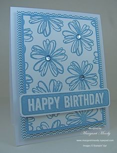 Stampin'Up! ... handmade birthday card: MMoody:LeAnneBD ... monochromatic blues ... lots going on but all unified by the color ... like it!