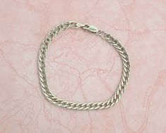Sterling silver double link curb chain bracelet, 8 grams by CardCurios on Etsy Half Circle, Repeating Patterns, Link Bracelets, Sterling Silver Bracelets, Chain, Etsy, Vintage, Jewelry, Jewlery