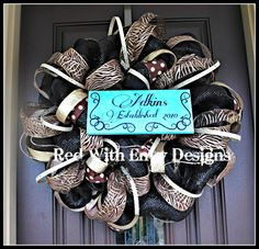 Customized Deco Mesh Wreath Leopard Wreath by RedWithEnvyDesigns, $150.00  I LOVE THIS!!!