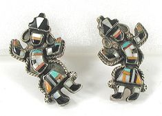 Sterling Silver and Stone Inlay Rainbowman Screw-back Earrings E534 Antique Jewelry, Vintage Jewelry, Native American Earrings, American Indian Jewelry, Screw Back Earrings, Native American Indians, Vintage Earrings, Vintage Shops, Sterling Silver Earrings