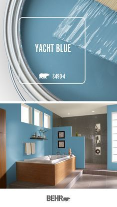It's anchors away when you're gazing into the bright blue hue of Yacht Blue by Behr Paint. The perfect addition to this modern bathroom, click below for full color details to learn how you can add this hue to your home. Behr Paint Colors, Room Paint Colors, Paint Colors For Home, Bedroom Colors, Wall Colors, House Colors, Bright Paint Colors, Colours, Balcon Grill