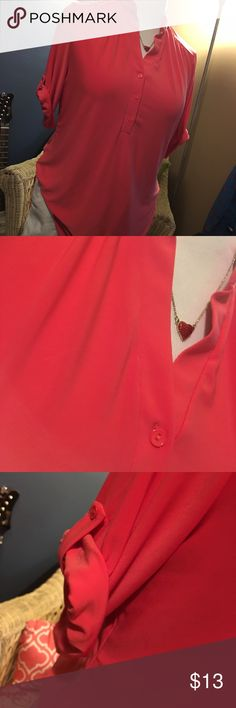 Cute pop over blouse Pretty coral red color wore once ... is a roomy xl .. nice for work or weekend ... easy wash and wear wrinkle free poly rayon stretch blend Francesca's Collections Tops Blouses