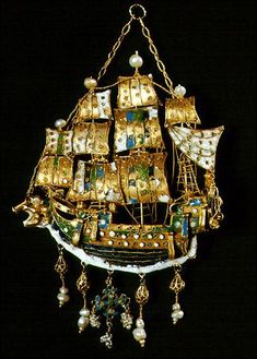 """a-l-ancien-regime: """" Gold earrings and gold pendants from the Greek island of Sifnos, century. Sailing ships with elaborate colorful enamels and pearls, reflecting European Rococo; Renaissance Jewelry, Medieval Jewelry, Ancient Jewelry, Antique Jewelry, Vintage Jewelry, Bling Jewelry, Jewelery, Benaki Museum, Bijoux Art Deco"""