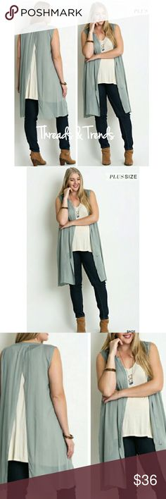 """Open Back Duster Cardi Button up open back open back duster Cardi. Color - Sage Can be worn open as sleeveless cardigan over a top or buttoned as tunic.  Length 40"""" Bust 46"""" 65% Cotton 35% Polyester Threads & Trends Tops"""