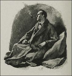 """""""The pipe was still between his lips."""" ~ llustration by Sidney Paget, from 1892."""