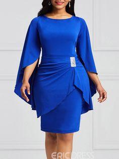 Ericdress Bodycon Slash Neck Flare Sleeve Women's Dress Short African Dresses, Latest African Fashion Dresses, African Print Fashion, Women's Fashion Dresses, Maxi Dress With Sleeves, Sleeve Dresses, African Attire, Classy Dress, Bodycon Dress