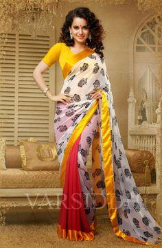 Kangana Ranaut Printed White and Ceris Colour Georgette Saree 504