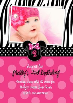 Minnie Mouse Zebra Invitations