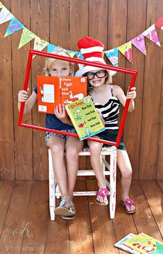 Dr. Seuss photo booth-cute idea for Read Across America Week or book fair.