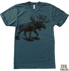 Zen Threads Custom Printed MOOSE In Snow Shoes design in eco-friendly ink. You choose the size and color!  INK COLORS: Brown or Black.    Mens Short