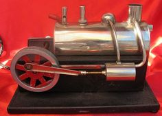 VINTAGE 1930's LIVE BRASS ELECTRIC STEAM ENGINE LARGE TOY MODEL