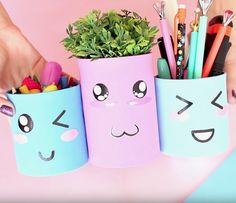 Faça você mesmo projetos com materiais reutilizáveis, como vaso de flores, porta treco e porta lapis e caneta