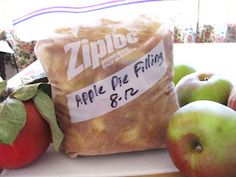 Homemade apple pie filling stored in the freezer to use whenever you want.