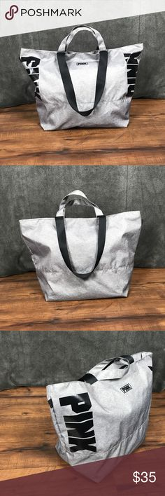 "💥Victorias Secret PINK large gray tote bag Victorias Secret PINK large gray zippered tote bag •Limited Edition bag •Short & long handles/ straps •A lot of space in this bag! •Zips closed •Slip pocket on the inside •Barely used- great condition! •See last 2 pics for very minor stains •23"" x 9"" x 16""   approximate   👜More Victorias Secret bags in my closet👜 ⚜️ Same/next day ship ⚜️ 🐲 Smoke-free 🐲  I do not discuss price in the comments #15 PINK Victoria's Secret Bags Totes"