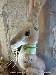 RESERVED FOR TANIA.  Miss Hickory Hare: vintage style, soft sculpture (hare, rabbit, bunny) by Pennybright Studios