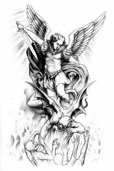 Jesse Santos - Book of angels St. Michael Tattoo, Archangel Michael Tattoo, Tattoo Design Drawings, Tattoo Sketches, Tattoo Designs Men, Angel Devil Tattoo, Guardian Angel Tattoo, Future Tattoos, Tattoos For Guys