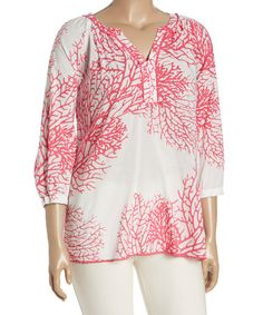 Love this Coral Notch Neck Top - Plus on #zulily! #zulilyfinds