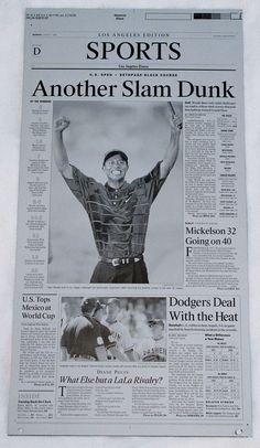 2002 U.S. OPEN TIGER WOODS LA TIMES PRINTING PLATE  #PGA #Golf #BritishOpen #TigerWoods #LATIMES #PrintingPlate #PressPlate