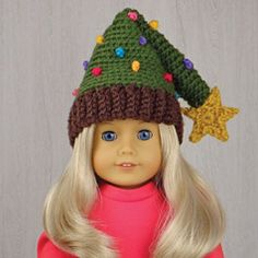 "CHRISTMAS TREE HAT for AMERICAN GIRL DOLLS ❤ Crochet pattern in the book ""Amigurumi Holiday Hats for 18-Inch Dolls"" by Linda Wright. Book available at Amazon.co"