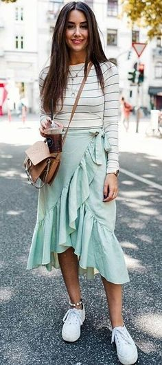 #summer #outfits White Striped Top + Mint Ruffle Wrap Skirt + White Sneakers