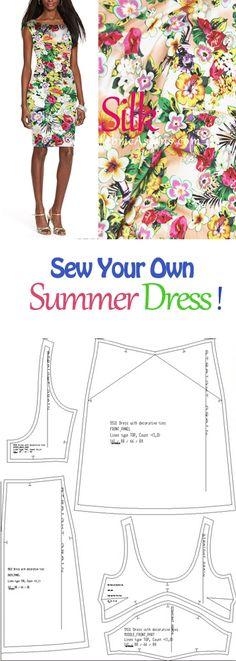 Sew your own summer dress! Free summer dress pattern. Pencil dress sewing pattern.