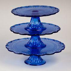Cobalt Blue Glass Cake Pedestals. BEAUTIFUL !!!!!!!!