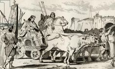 Clovis III (682-95) in a Chariot pulled by Oxen, with Pepin II of Herstal (c.714) Riding Alongside Him, from 'Histoire de France' by Colart,...