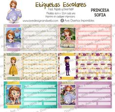 Princesa Sofia Etiquetas para Cuadernos por AVeDisenoImprimible