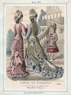 Victorian fashion plate. June, 1877, Journal des Demoiselles