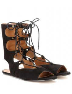 Chloe - Lace-up suede gladiator sandals.