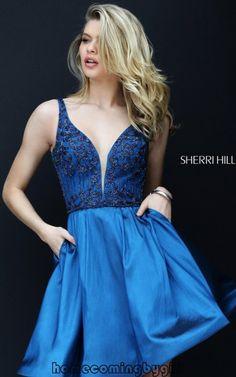 Fashion Sherri Hill 50536 Navy Beaded Taffeta Sexy Homecoming Dress