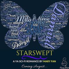 "STARSWEPT word cloud! The bigger the word, the more often I used it :-D. Took out the filler words like ""the"" and ""I"" (the book's written in first person). Of course, the biggest words are of the characters' names... with the biggest being that of Iris's alien love interest... It is a romance, after all ;-) Coming August 29 from @snowywingspub! ✨ Add STARSWEPT to your Goodreads shelf: https://www.goodreads.com/book/show/34377743-starswept  #authorsofinstagram #authorsofig #authorslife…"