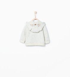 ZARA - MINI - Sweatshirt with animal face on the hood