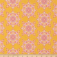 Riley Blake yellow and pink laminated cotton fabric (for a spill-proof dining room chair). Pair with a gray chair. Laminated Cotton Fabric, Plastic Tablecloth, Grey Chair, Riley Blake, Dining Room Chairs, Damask, Fabric Design, Sewing Projects, Quilts