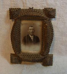 Antique German Carved Wood Tramp Art Picture Frame #K5