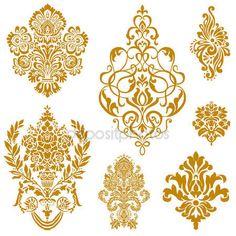 Vector gouden damast sieraad set — Stockillustratie #4748232