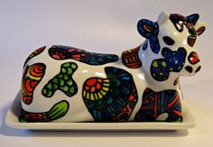 Butter Dish With Cow Lid-Butter Dish With Lid-Zendoodle-Zentangle-Ceramic-Lidded Butter Dish- Butter Keeper-Cow Butter Dish Hand Painted by ArniesArtwork on Etsy
