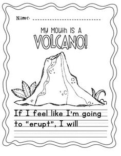 """My Mouth Is A Volcano!"" Writing Activity [FREEBIE!]"