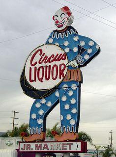 """The Liquor Clown"" - Circus Liquor Neon Clown Sign by halloween_guy, via Flickr"
