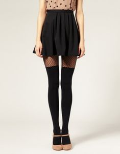 fishnet stockings tan tank thigh high black socks nude mary janes