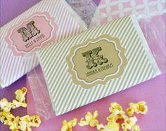 Personalized Microwave Popcorn Favors - Wedding Party Favors Popcorn Wedding Favors, Popcorn Favors, Wedding Party Favors, Party Favours, Party Invitations, Wedding Stuff, Wedding Ideas, Stationery, Microwave Popcorn