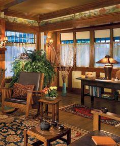 In this Arts & Crafts living room, practical roller shades can be pulled down to block sunlight or for privacy. Sheer half-curtains filter light and the view while subtly calling attention to unusual sash proportions. Craftsman Style Homes, Craftsman Style Interiors, Craftsman Living Rooms, Bungalow Interiors, Craftsman Furniture, Craftsman Interior, Craftsman Bungalows, Mission Furniture, Hanging Curtains