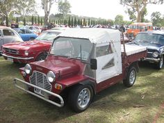 Leyland Australia Moke Pick-up - Mini Moke - From 1975, a pickup version of the Moke was produced, with a 1.45 x 1.50 metre (55 x 59 in) drop-sided bed which protruded behind the back of the vehicle, and a cloth top over the cab area.