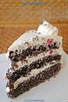 Csak, mert szeretem... kreatív gasztroblog: MÁKTORTA FEHÉR CSOKOLÁDÉS KRÉMMEL TÖLTVE Vanilla Cake, Fondant, Birthday Cake, Sweets, Poppy, Food, Cake Ideas, Heaven, Cakes