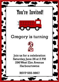cool Free Printable Fire Truck Birthday Invitations Get more